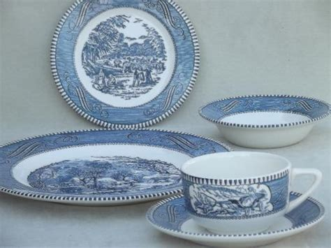 blue and white dinnerware vintage currier ives blue and white china dishes dinnerware set for 6