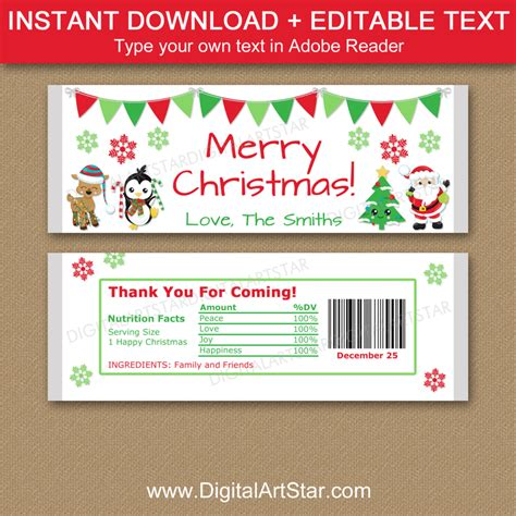 Beautiful free candy bar wrapper template best sample excellent. Personalized Christmas Candy Bar Wrappers | Digital Art Star