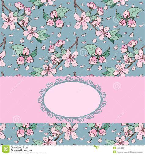 cherry blossom invitation card royalty  stock
