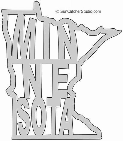 Outline State Stencil Pattern Minnesota Map Scroll