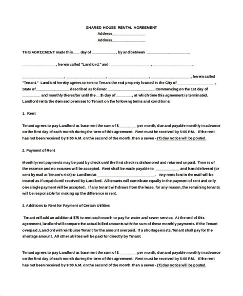 house rental agreement templates