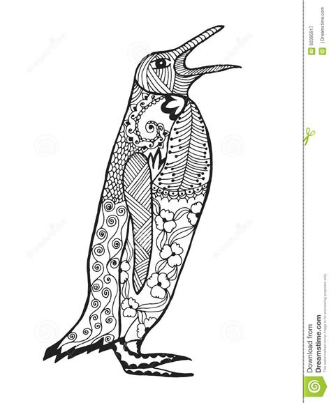 Zentangle Stylized Penguin Sketch For Tattoo Or T Shirt