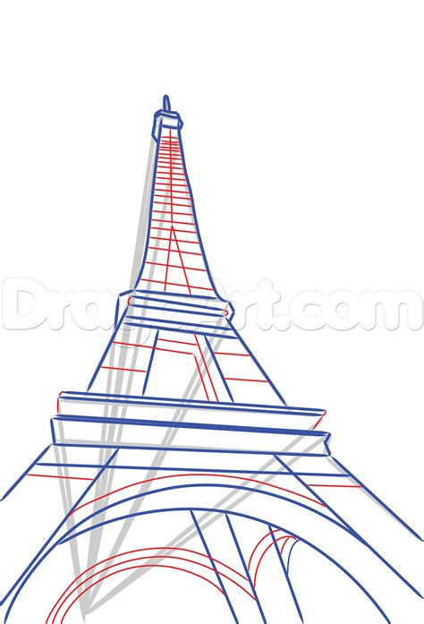 Draw The Eiffel Tower Step By Step Drawing Sheets Added