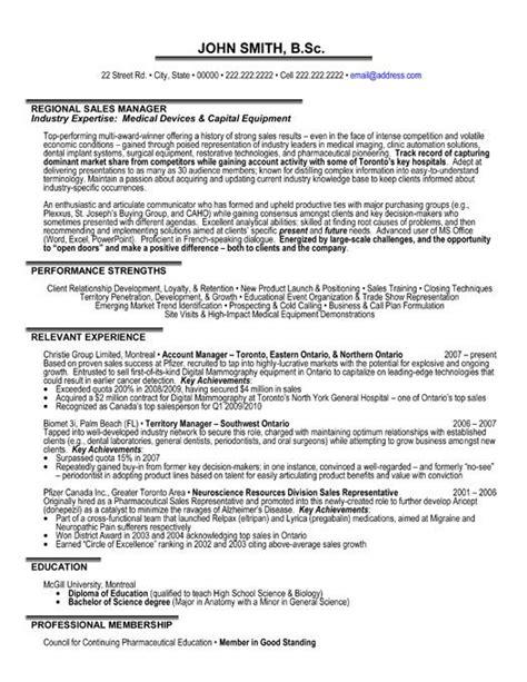 professional resume template   regional sales