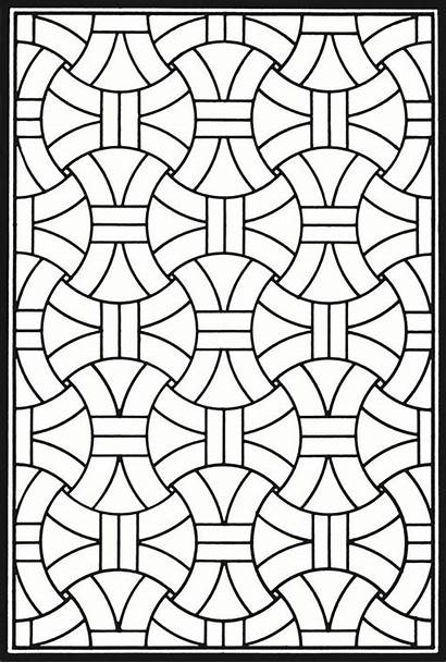 Coloring Glass Stained Geometric Dover Patterns Mosaic
