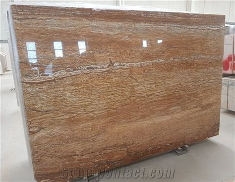 Travertino Legno, Wood Grain Travertine Polished Slabs