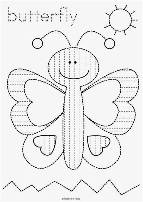 butterfly pre writing tracing worksheet freebie teaching