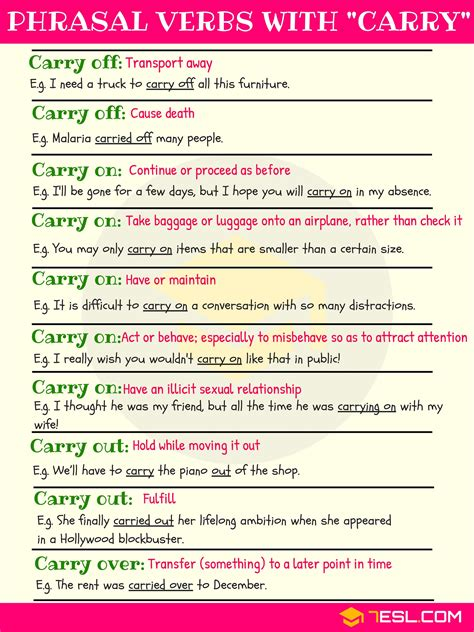 10+ Phrasal Verbs With Carry (with Meaning And Examples)  7 E S L
