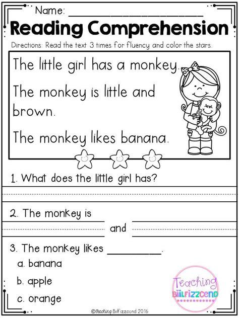 kindergarten worksheets reading comprehension