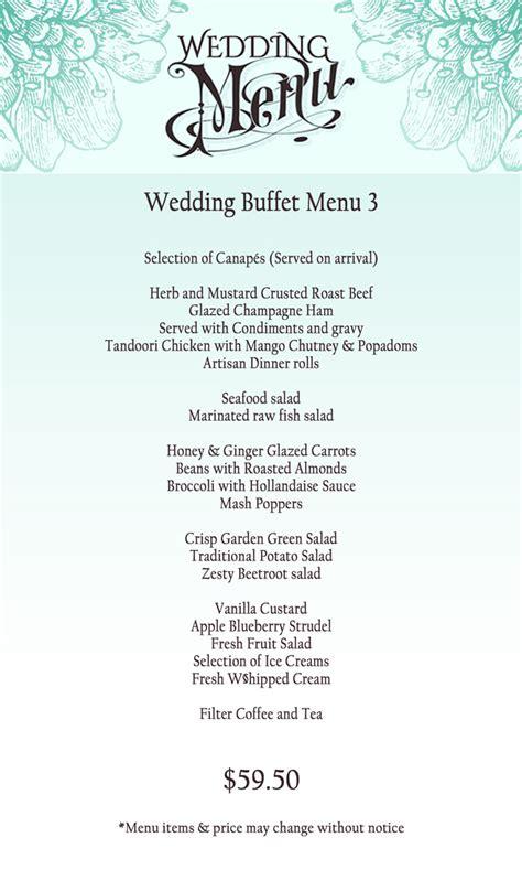 wedding menu  buffet