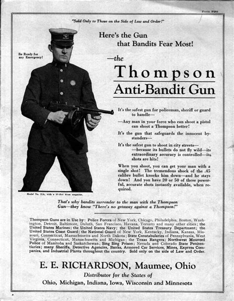 thompson anti bandit gun policeman sheriff guard vintage ads