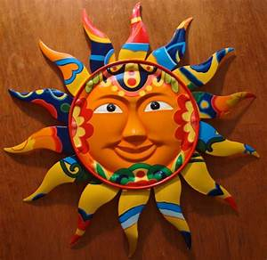 gorgeous metal talavera tile style mexican sun wall art With mexican wall art