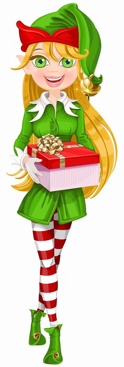 Elf Transparent Christmas Clipart Clip Santa Elves