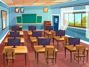 Cartoon empty high school college university computer ...