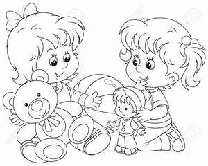 Clipart kids play toys black and white