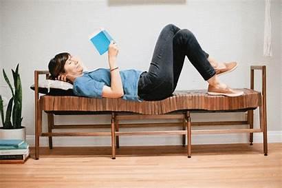 Furniture Bench Wood Sleek Comfortable Curves Gently