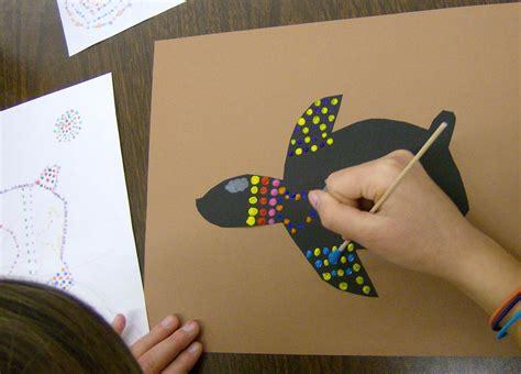 zilker elementary art class  grade aboriginal dot