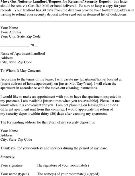 download move out notice to landlord request for return of