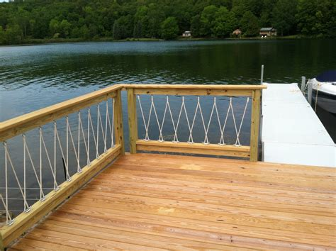 awesome cantilevered deck and nautical railing house