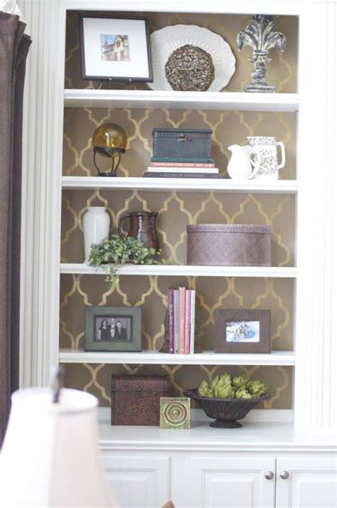stencil  white painted bookshelves decor home decor