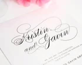 calligraphy wedding invitations wedding invitations with large names in calligraphy wedding invitations