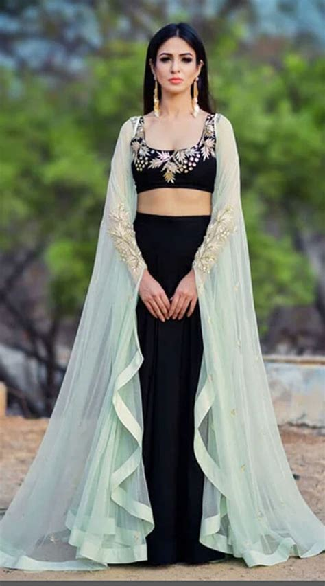 Silk Cape Sleeve Style Crop Top Lehenga for Party WJ91829