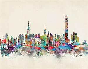 Hong Kong Skyline Painting by Bleu Bri