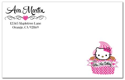 kitty birthday invitation card template