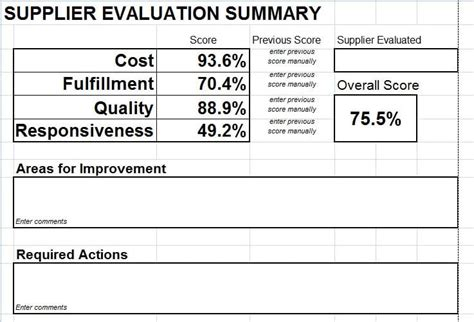 vendor scorecard template supplier evaluation scorecard for microsoft excel