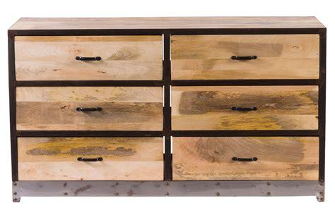 bureau plus ca commode 6 tiroirs bois et métal industria miliboo