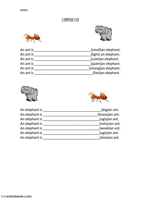 comparatives  worksheet     exercises