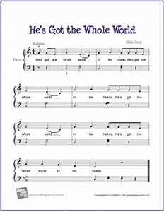 he39s got the whole world free easy piano sheet music With children s piano music with letters