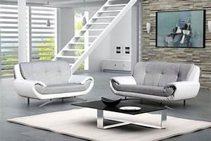 canape 3 places 2 places sisi gris et blanc canapes With canapé et fauteuil design