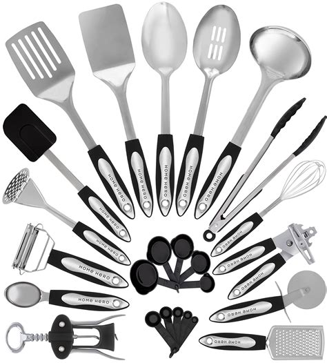utensils kitchen cooking utensil stainless tool gadgets steel spatula cookware nonstick piece hero gift amazon