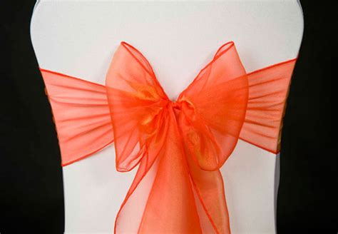 wedding chair cover bright burnt orange organza