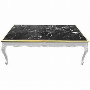 Table Basse Noir Laqué : grande table basse de style baroque bois laqu blanc et marbre noir ~ Teatrodelosmanantiales.com Idées de Décoration