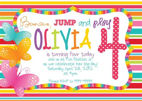 Printable Rainbow Butterfly Birthday Invitations by