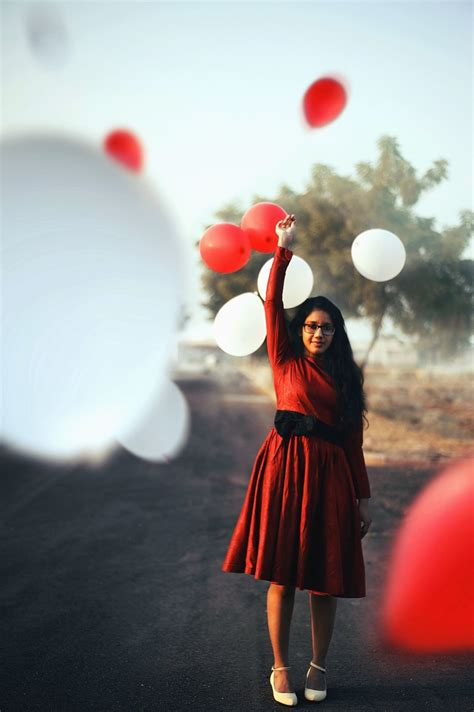 picture girl balloon red white happiness love