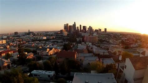 aerial vidography  los angeles skyline  sunset