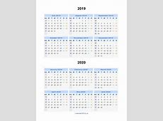 Split Year Calendars 2019 2020 Calendar from July 2019