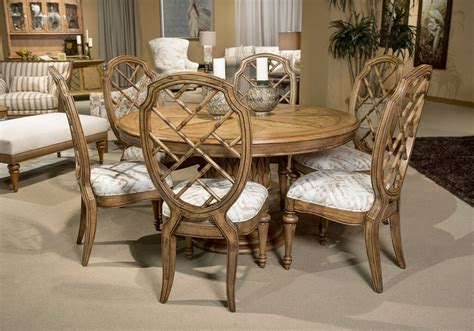 Michael Amini Excursions 7 Piece Round Dining Set Dining Room Table Centerpiece Ideas Unique Tables 8 Seats Coastal Decoration Pool Combo Living Narrow Hutch Addition