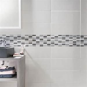 Carrelage mural melotti blanc 20 x 50 cm castorama for Salle de bain design avec carrelage salle de bain castorama