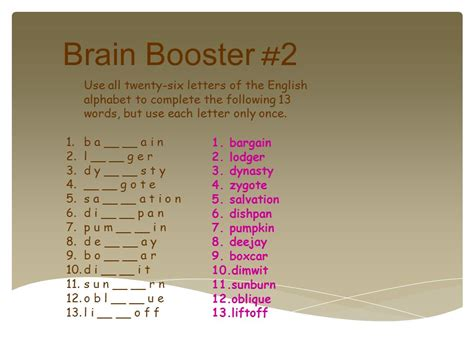 words with the following letters 20 block brain boosters ppt 25766 | Brain Booster %232 Use all twenty six letters of the English alphabet to complete the following 13 words%2C but use each letter only once.