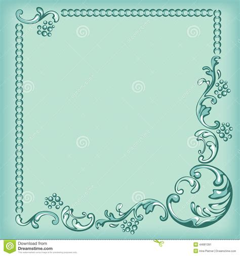 ornament frame decorative pattern  turquoise background