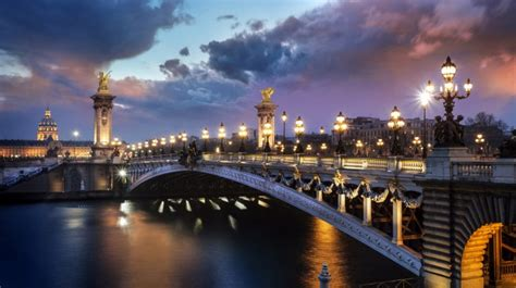 bridge france paris lights wallpapers hd