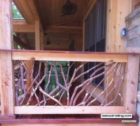 red deck porch railing   branches installed  texas