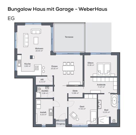 Grundriss Bungalow 3 Zimmer by Gundriss Bungalow Haus Mit Garage Pultdach Architektur
