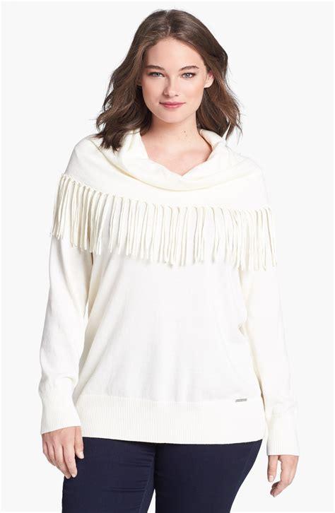 white cowl neck sweater michael michael kors fringed cowl neck sweater in white