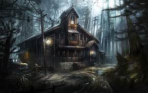 Creepy wooden house in the forest wallpaper
