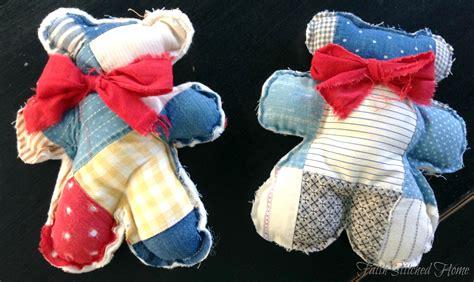 teddy bear softie   vintage quilt faith stitched home